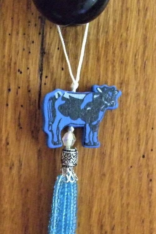 Wooden Cow Bead tassel decoration