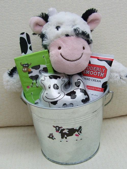 Cow Gift Basket Bucket