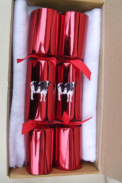 2 x Large Red Cow Cracker Gift