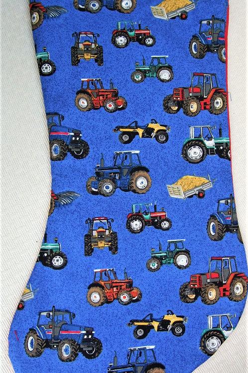 Blue Multi-Tractor Christmas Stocking