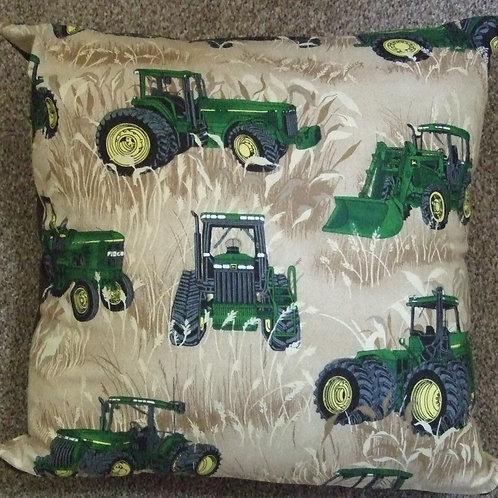 John Deere Tractors in Brown corn field Cushion