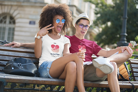 v-neck-t-shirt-featuring-a-young-couple-