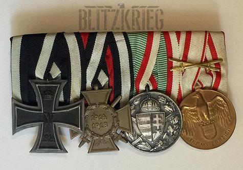 Barrete Alemão ww1 de 4 Medalhas