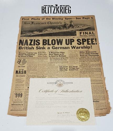 Jornal sobre Graf Spee com certificado