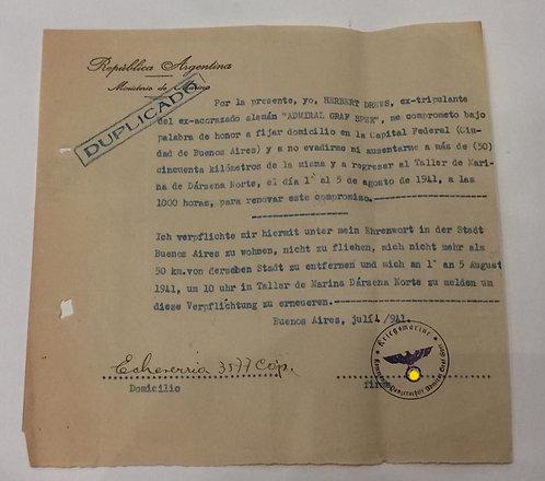 Documento Alemão Graf Spee ww2