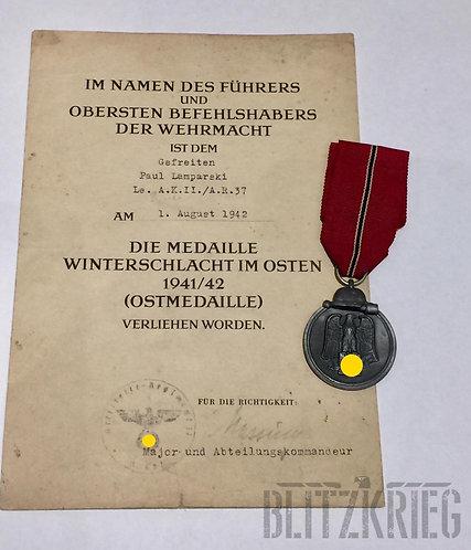 Diploma com a Medalha da campanha da Rússia