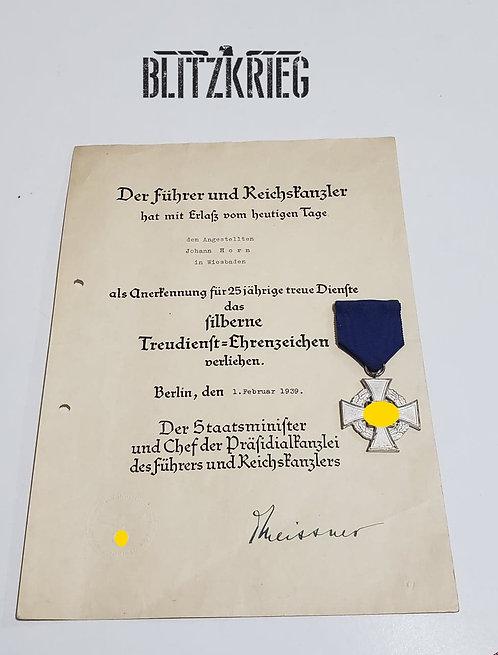 Medalha Alemã do partido de 25 anos de serviço ww2