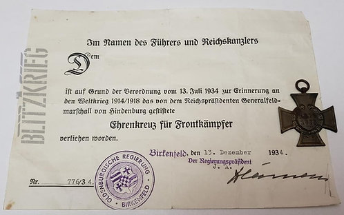 Medalha Alemã Cruz de Hindenburg com Espadas ww2 com Documento