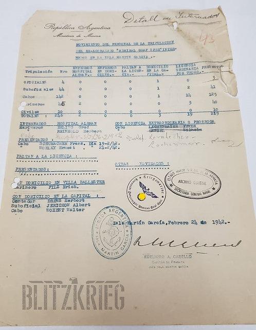Documento de Internação dos Marinheiros do Graf Spee ww2