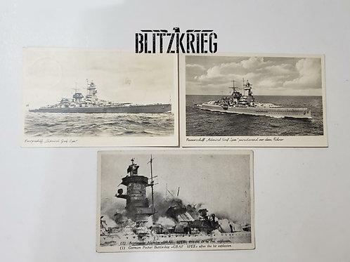 Cartões Postais Graf Spee ww2. Uni.