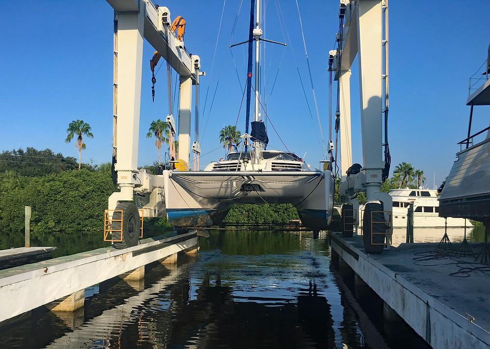 Kuma Too leopard catamaran haulout