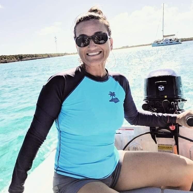 Jen on the dinghy, Lady Bug
