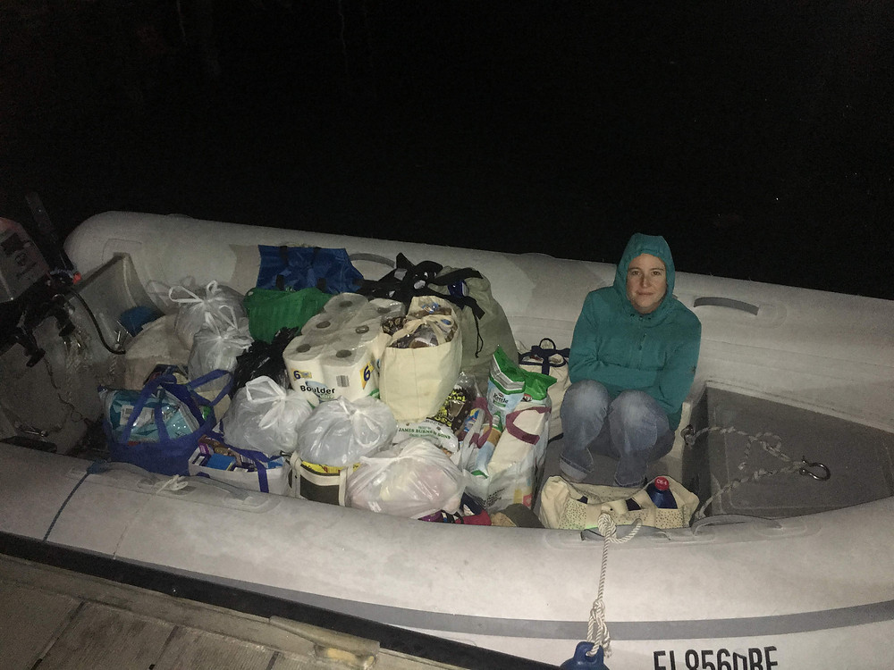 Dinghy Loaded with Supplies