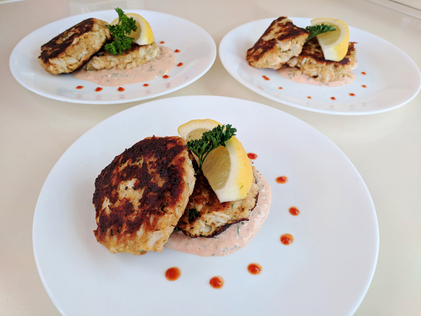 Delicate Crab Cakes with Spicy Aioli