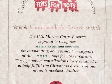 Matrix Expedited Service is a Proud Sponsor of Toys for Tots