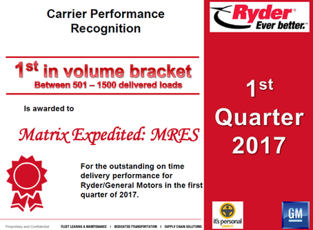 Matrix Recognized by Ryder for Exceptional Performance