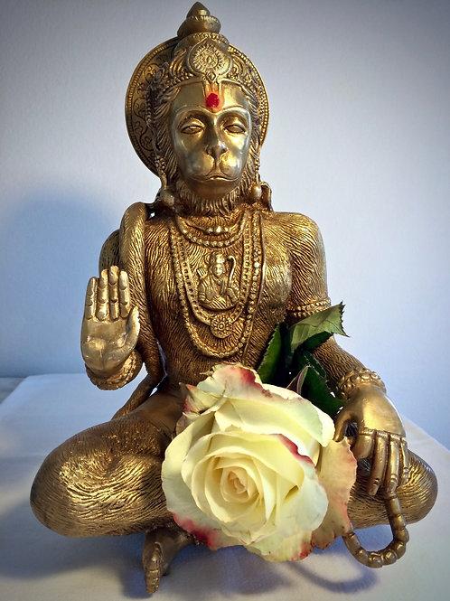 Hanuman Statue, meditating & blessing, brass, 28 cm.