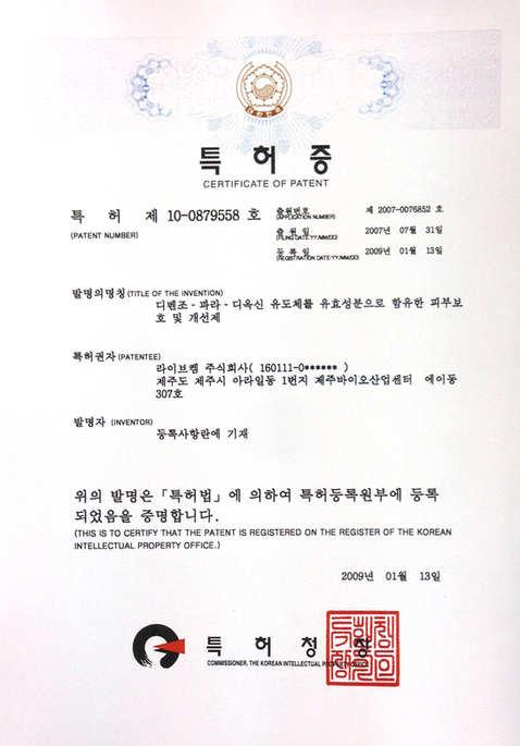 韓國改善[皮膚]專利