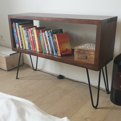 Book cabinet with hairpin legs