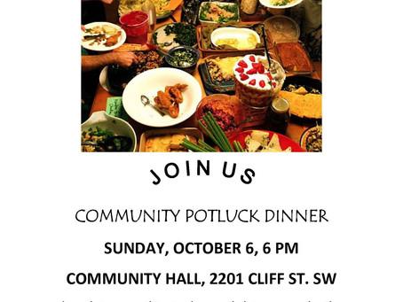 Potluck, Sunday, October 6, 2013, 6 pm