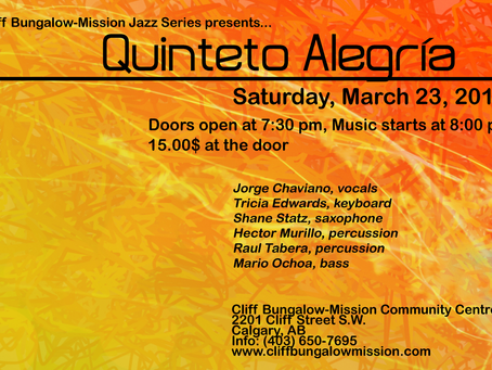 March 23rd: Jazz with Quinteto Alegría!