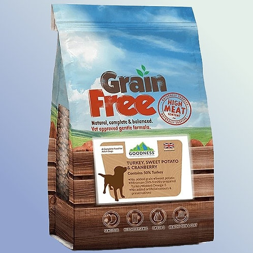 Goodness Turkey, Sweet Potato & Cranberry Grain Free Adult Dog Food 2 kg
