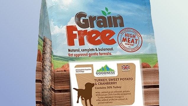 Goodness Turkey, Sweet Potato & Cranberry Grain Free Adult Dog Food 2 kg