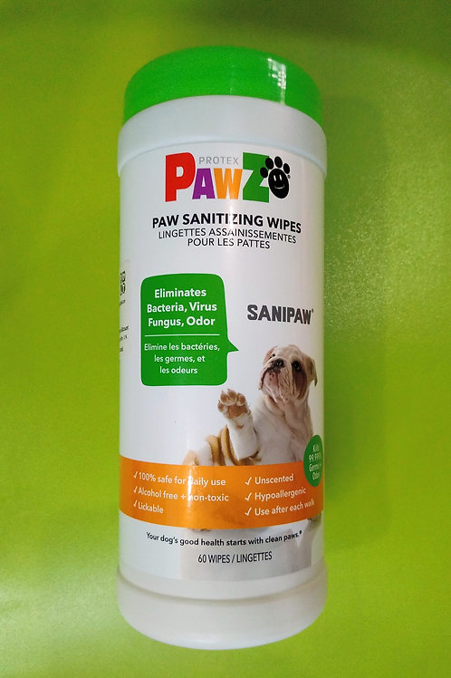 Pawz Protex Paw Sanitizing Wipes 60 count