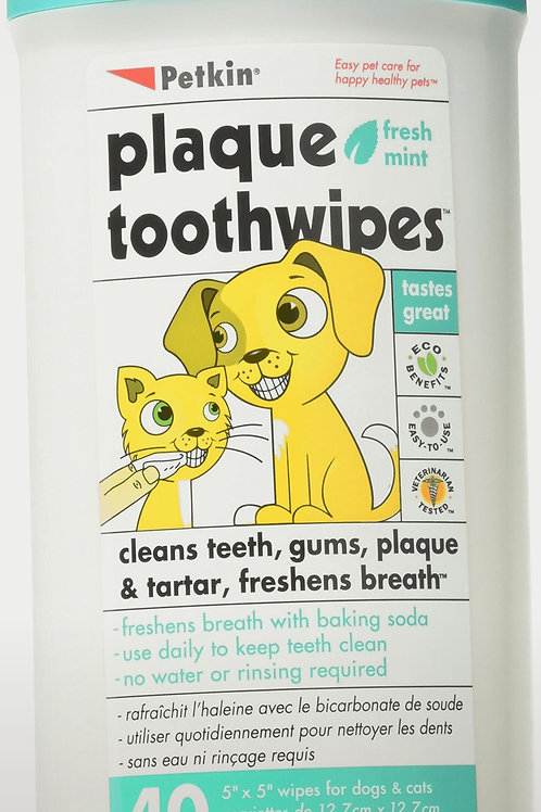Petkin Plaque ToothWipes 40 Wipes