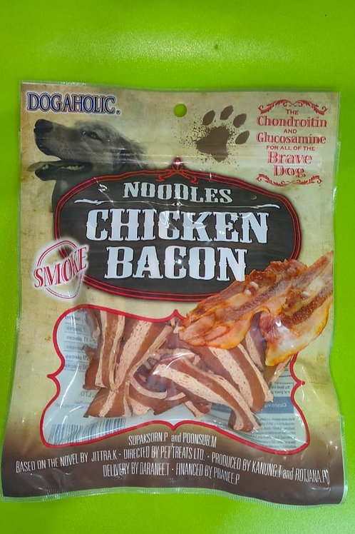 Dogaholic Noodles Chicken Bacon Strips Smoked Dog Chew Treats