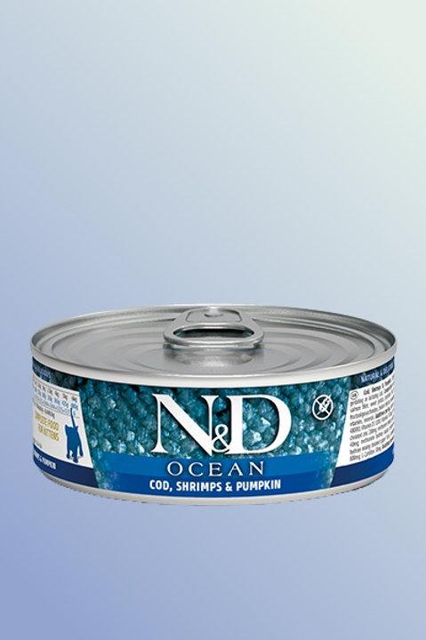 Farmina N&D Cat Ocean Cod, Shrimp & Pumpkin Kitten Wet Food