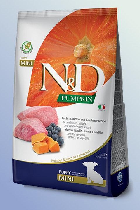 Farmina N & D Pumpkin, Lamb & Blueberry Mini Puppy Grain Free Dog Food 2.5 kg
