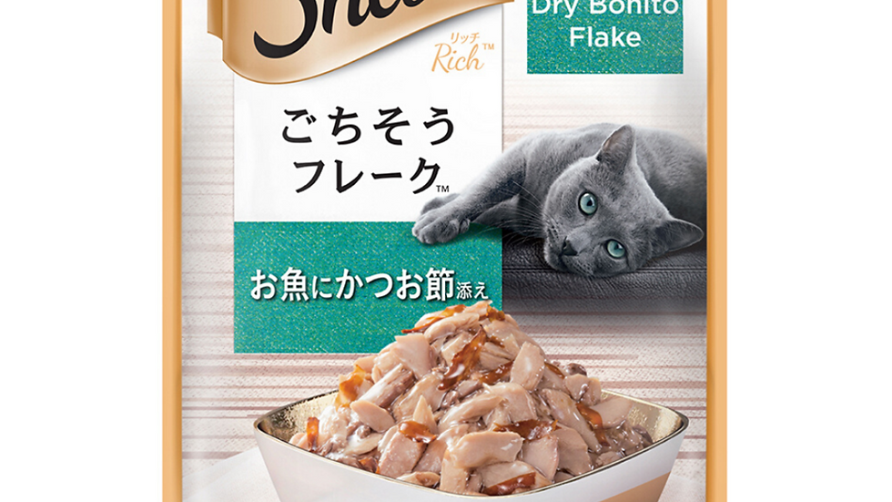 Sheba Fish with Dry Bonito Flake Green Pouch Cat Wet Food 35g