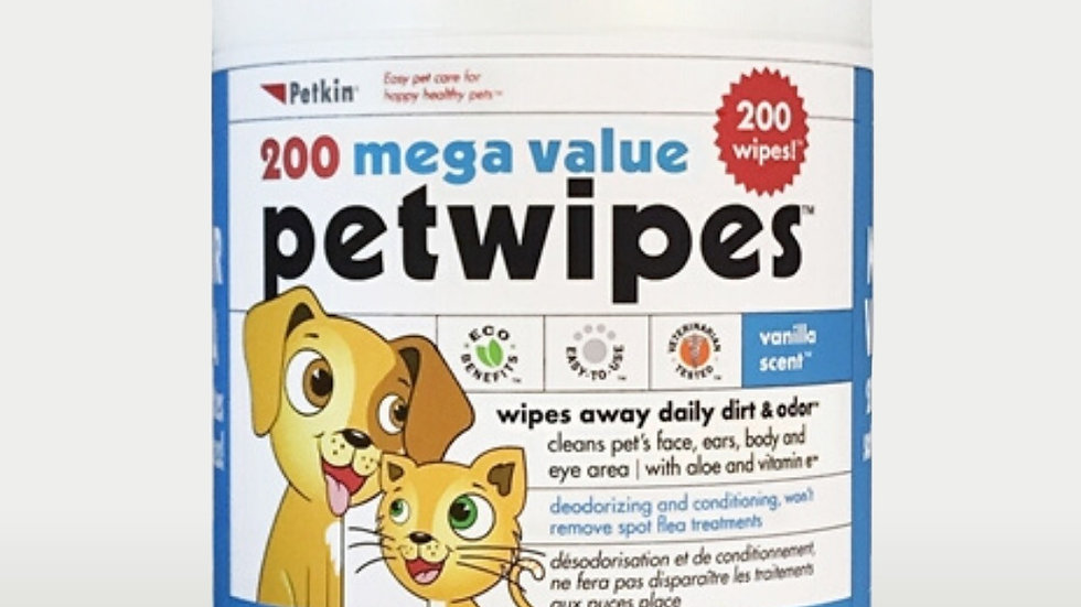 PetKin Mega Value Petwipes 200 Wipes