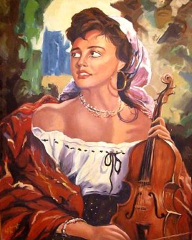 Spanish girl, oil on canvas, 60cmX  90cm