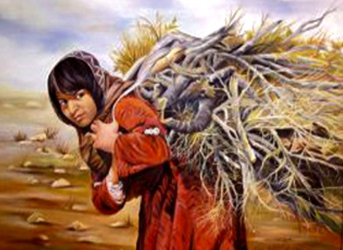 Rural girl carrying firewood, Oil  on ca