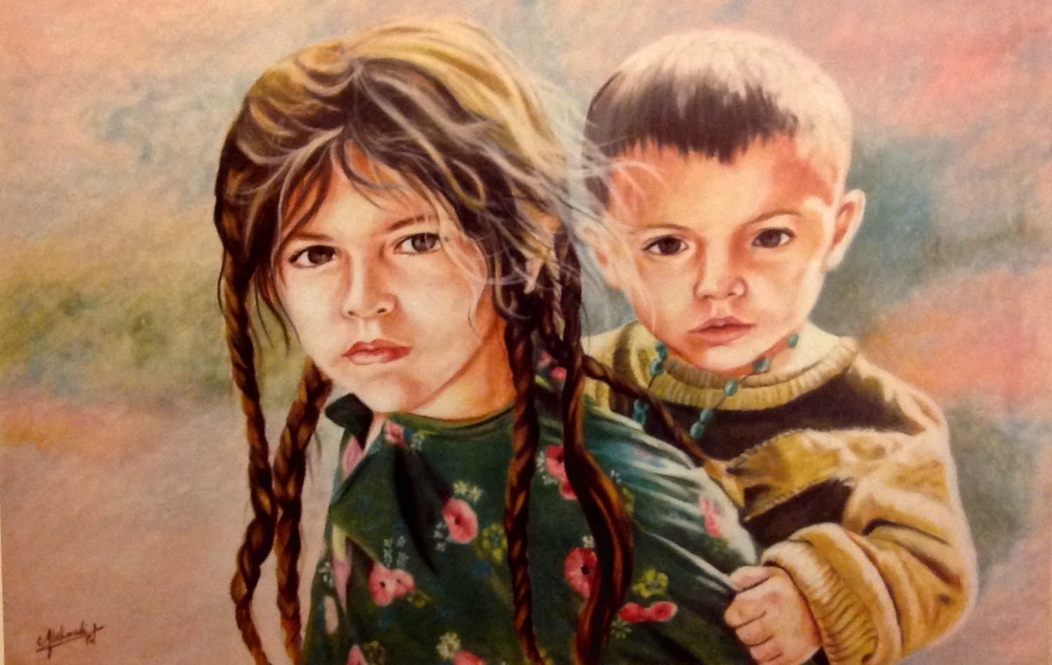 Sister and Brother, soft pastel on  pape