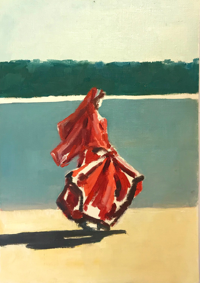 Walking on the beach, oil on canvas  pap