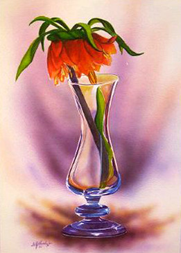 Lonely flower, Water colour and airbrush