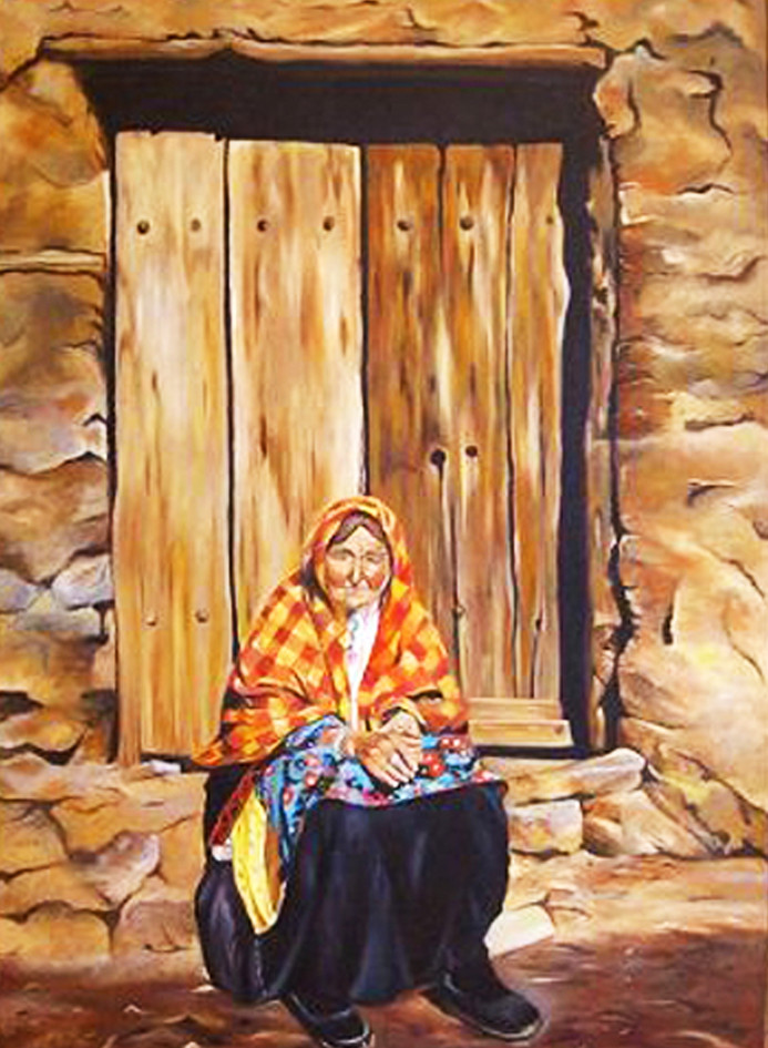 Abyaneh woman, Oil on canvas, 70x  100cm