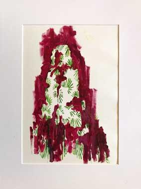 Bakhtiari in Magenta, Oil on canvas  pap