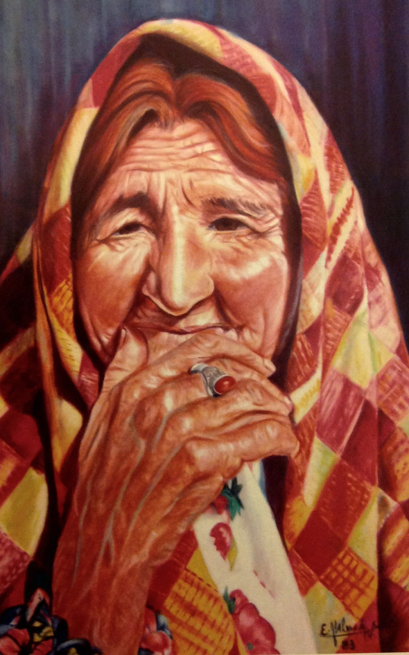Abyaneh woman, Soft pstel on  carbord, 3