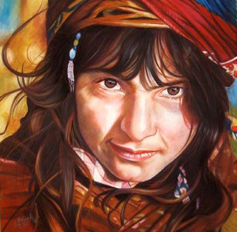 Kordish girl 2000, soft pastel on  velve