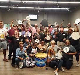 Cindy St. Cyr, Team Building Drum Circle, Houston Music and Wellness Center