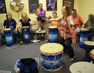 Cindy St. Cyr, Drum Circle, Facilitation, Houston Music and Wellness Center