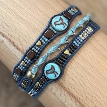 Wrap Bracelet/ Blues-brass