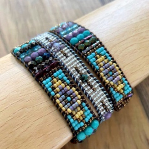 Wrap bracelet, blues and blacks.