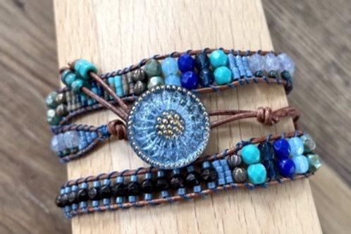 Blue toned wrap bracelet