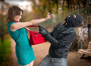 Self defense concept. Young woman was at