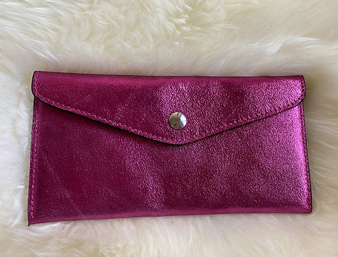 Pink Leather Wallet and card holder front